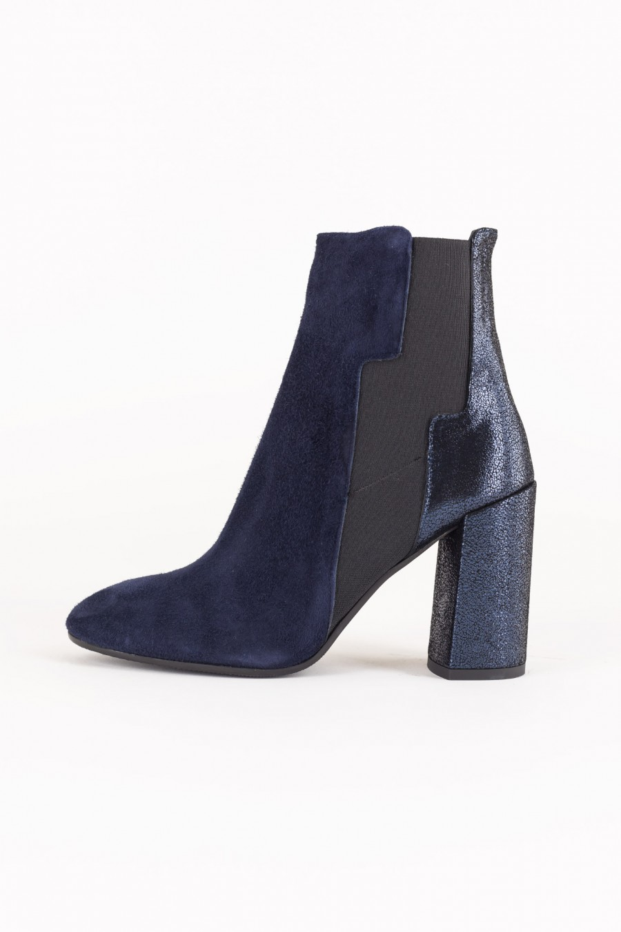 Blue leather ankle boots