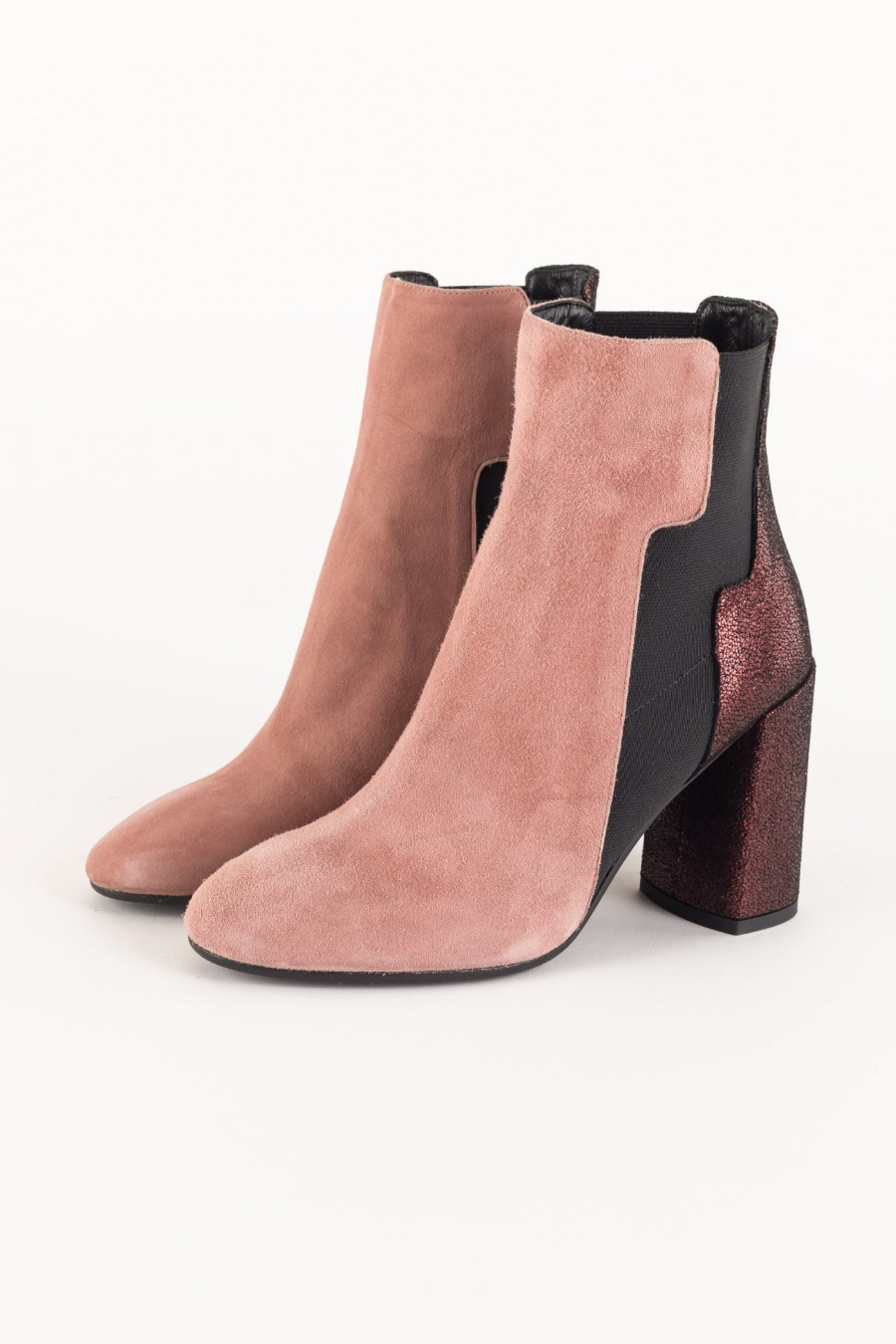 Pink suede leather ankle boots