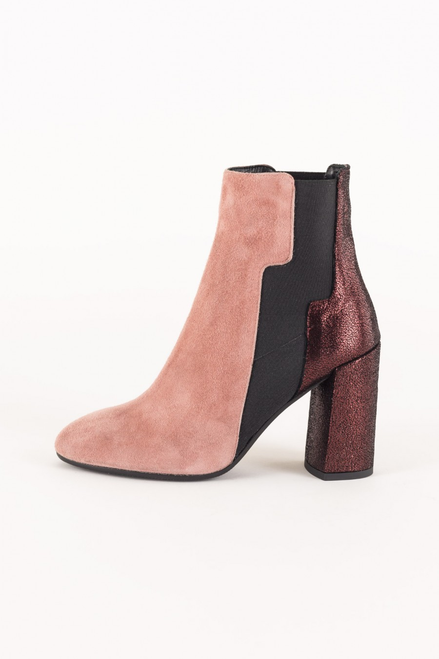 Pink and burgundy ankle boots
