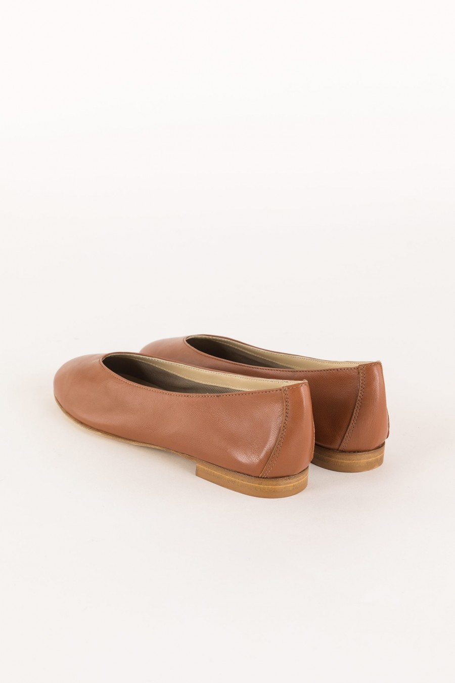 brown leather ballerina