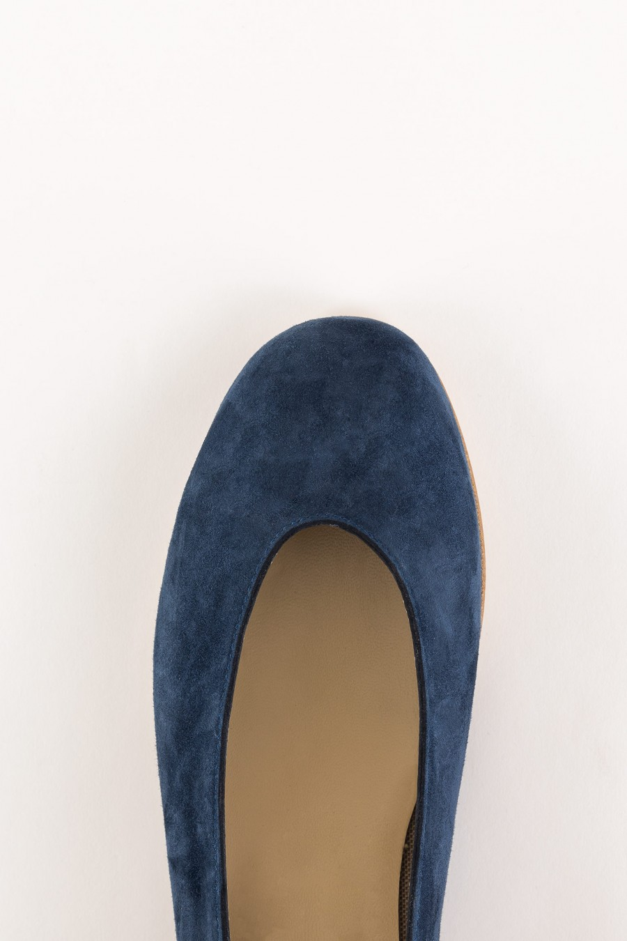 blue suede rounded shoes