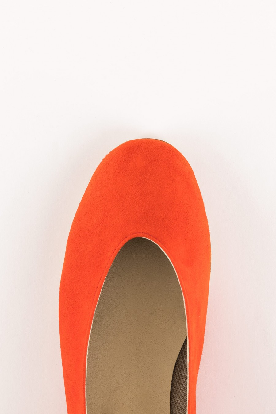 orange suede rounded shoes