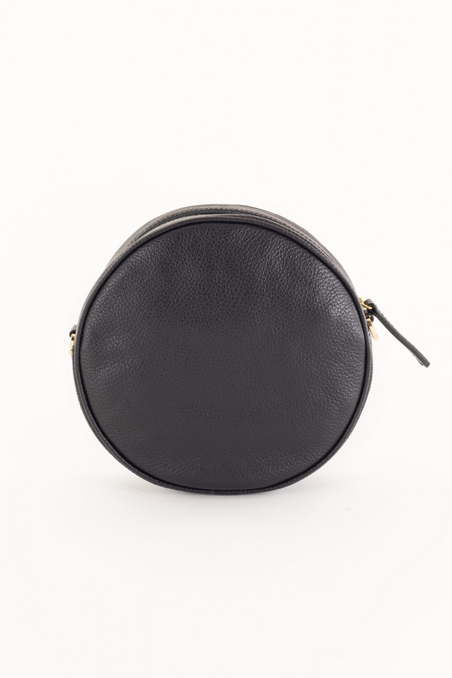 black round bag with shoulder strap