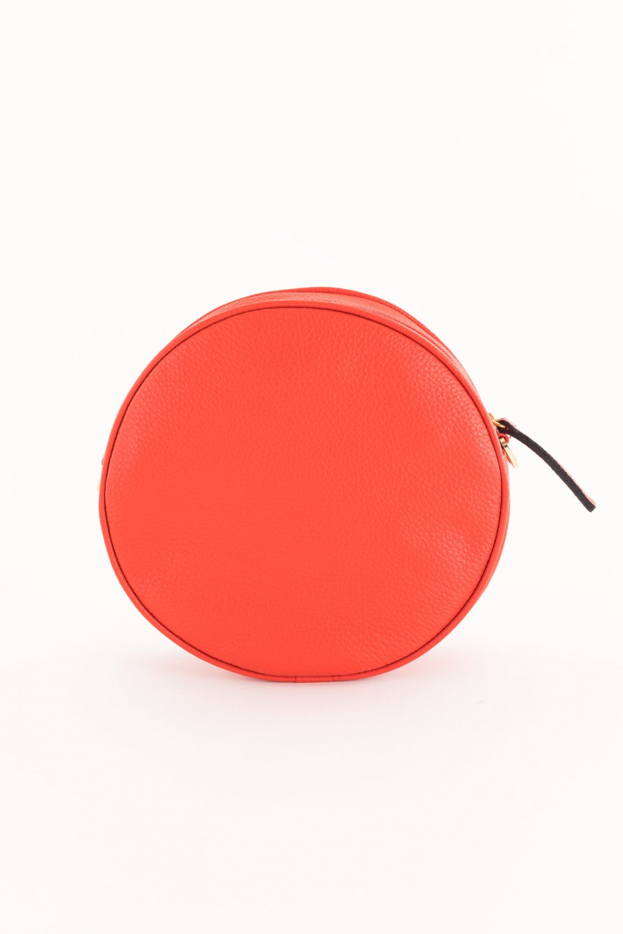 round coral bag with shoulder strap
