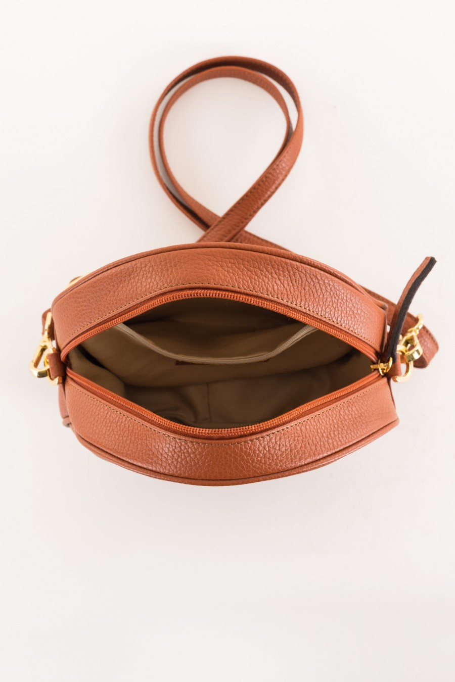leather-colored bag with shoulder strap