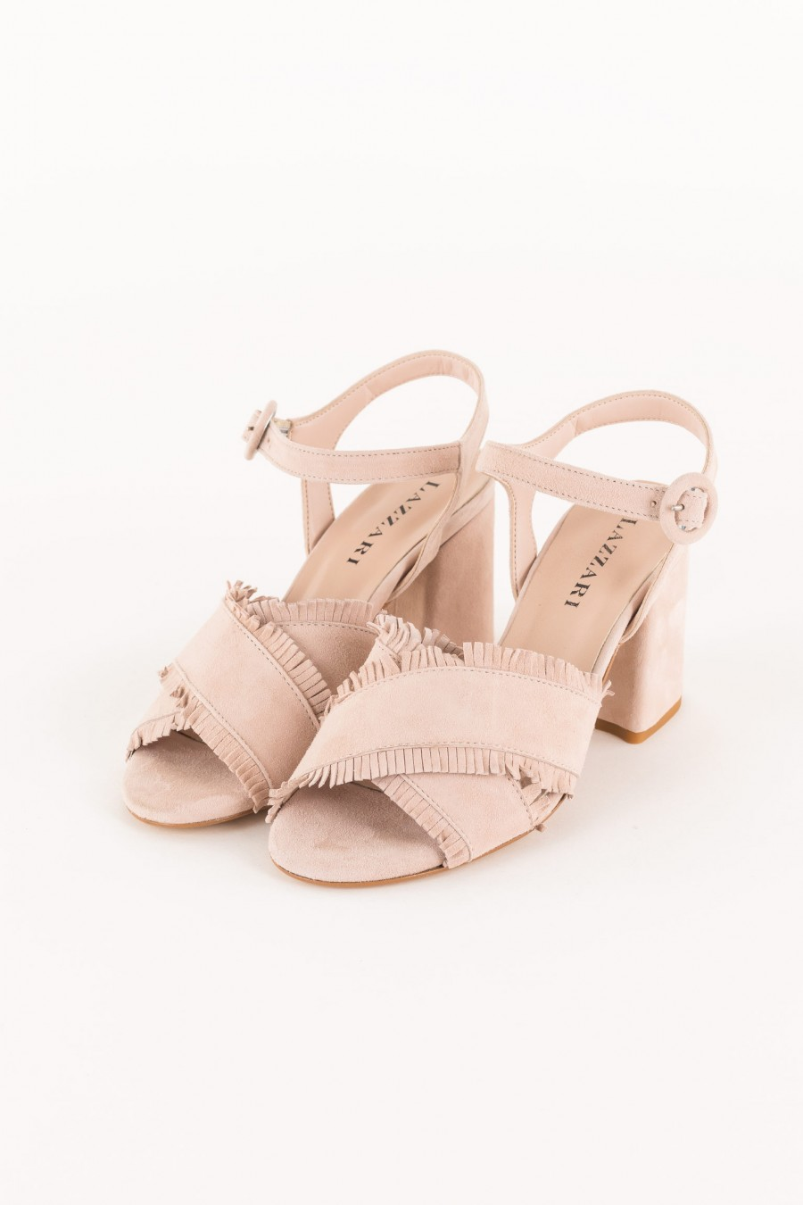 powder sandal with ankle strap