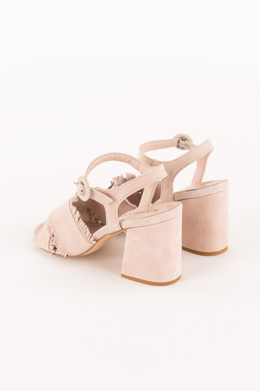 powder sandal with cross straps