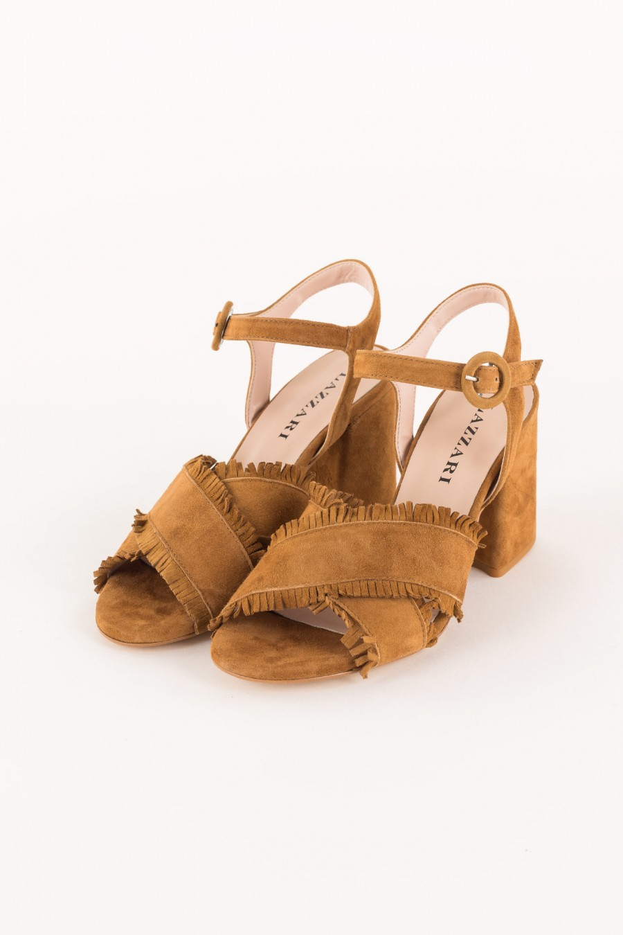 leather-colored sandal with fringes