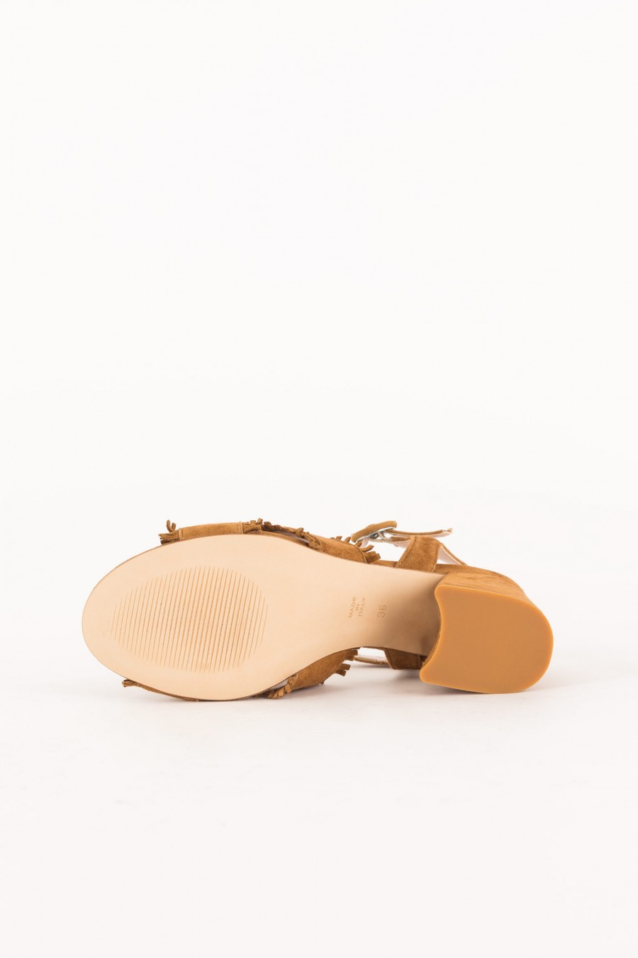 leather-colored sandal with ankle strap