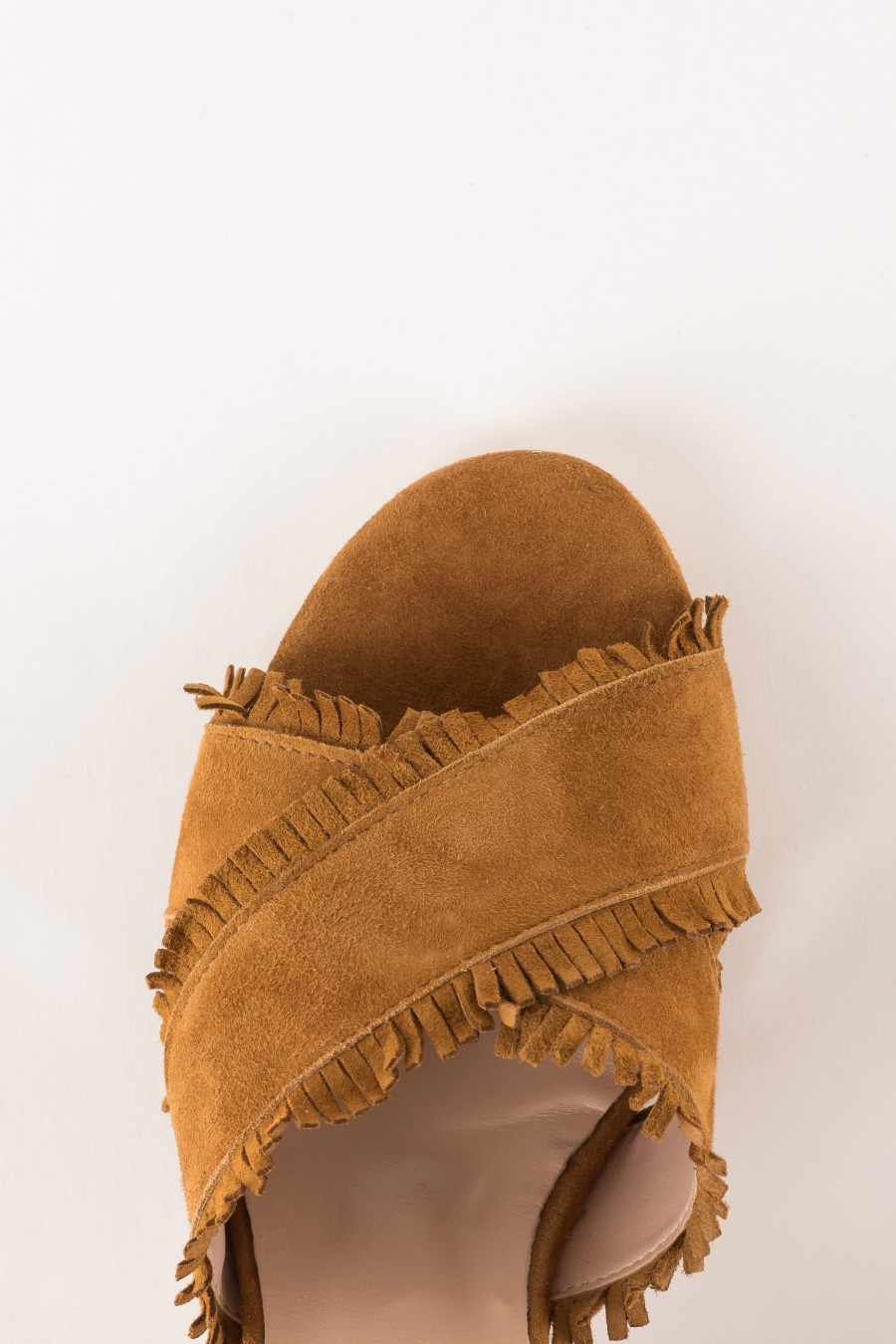 leather-colored sandal with heel