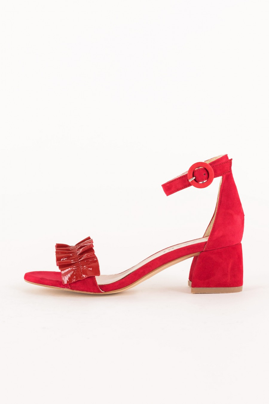 red sandal with low heel
