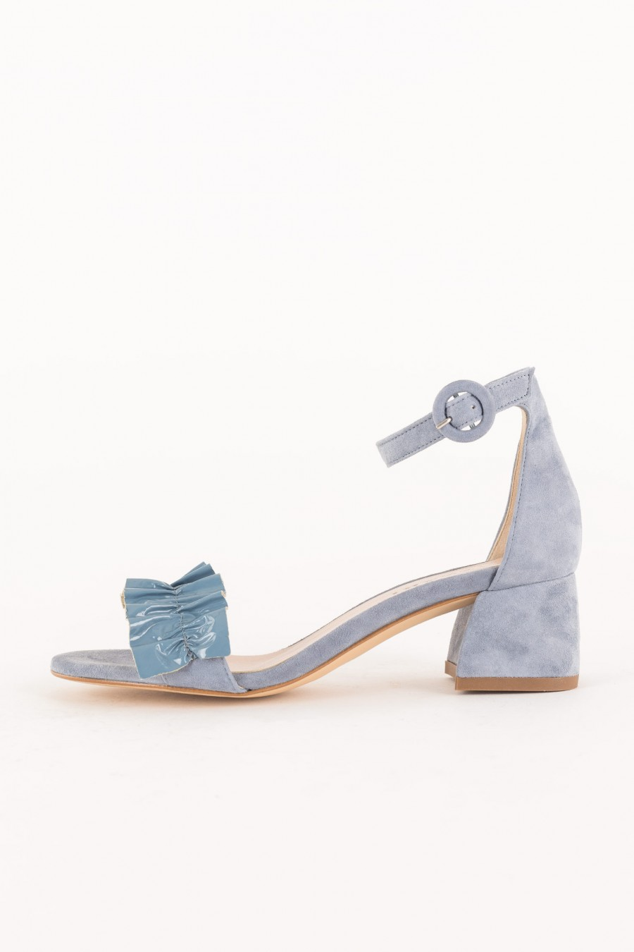 light blue sandal with ankle strap