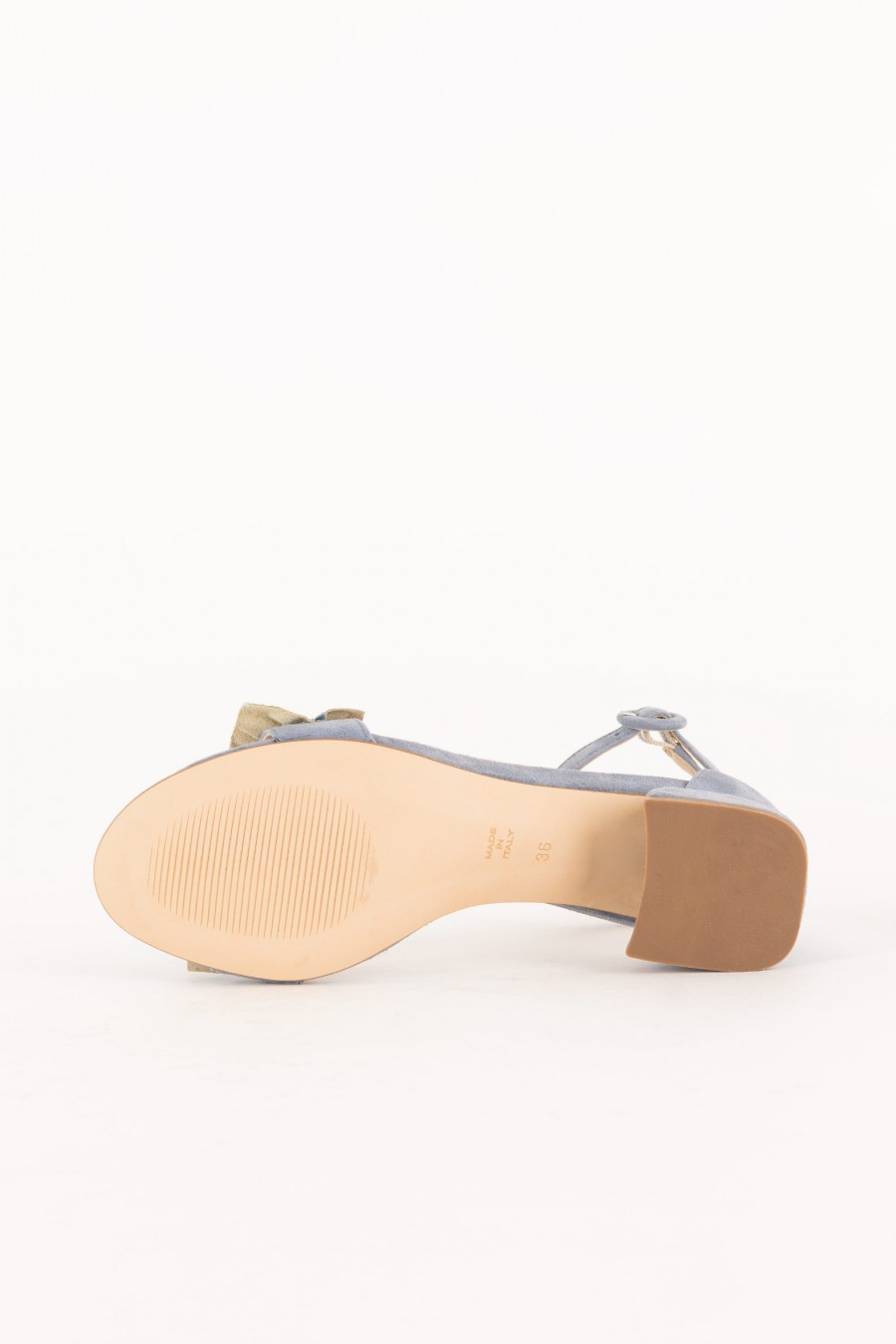 light blue sandal with low heel