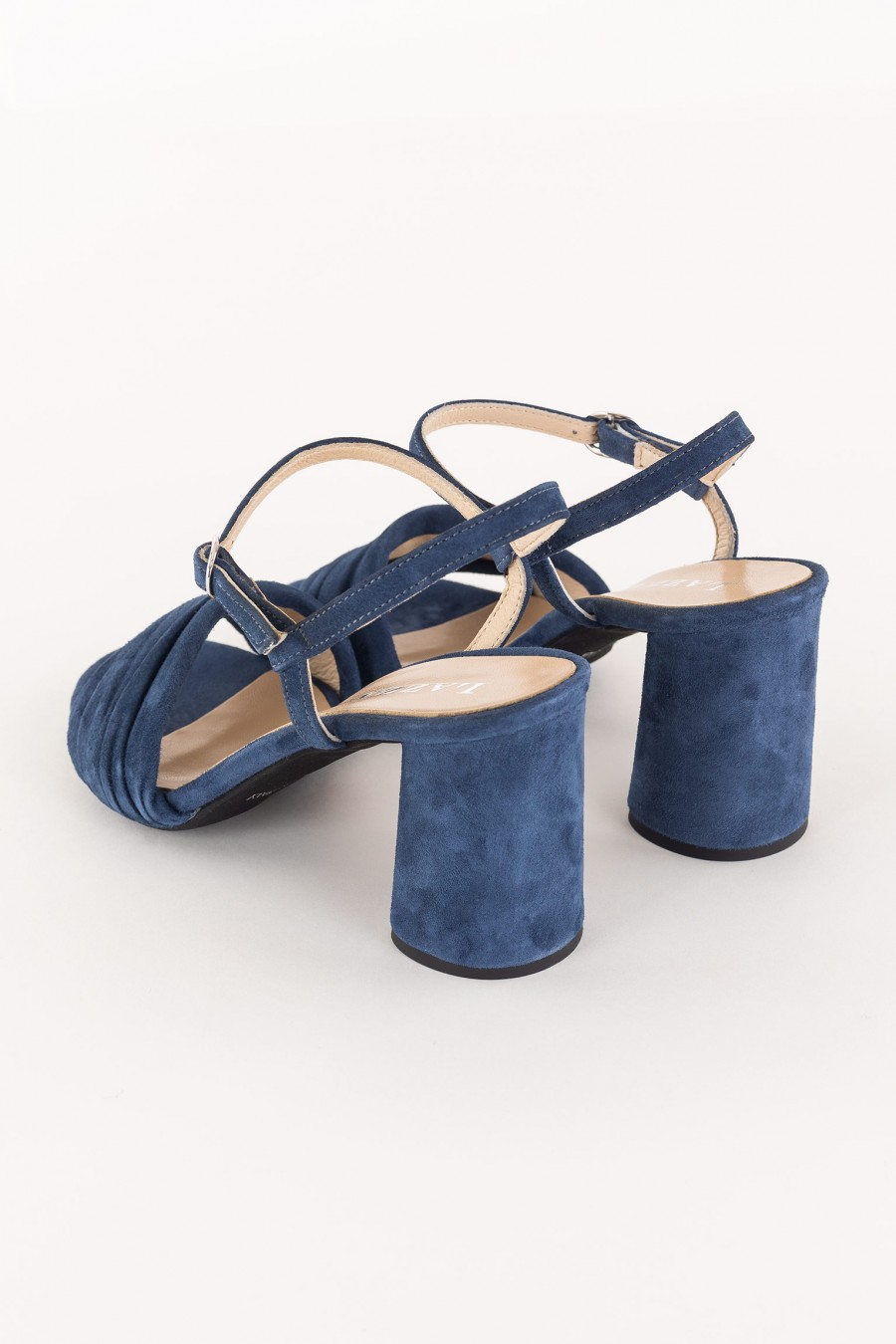blue sandal with draped strap