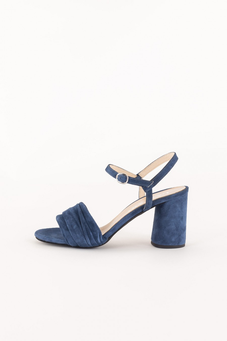 blue sandal with ankle strap
