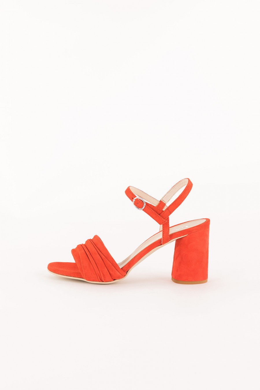 coral sandal with ankle strap
