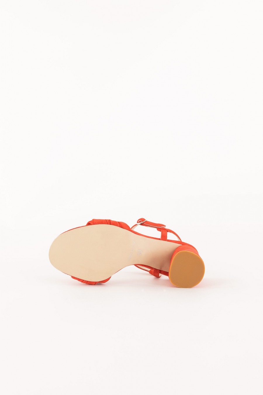 coral sandal with round heel