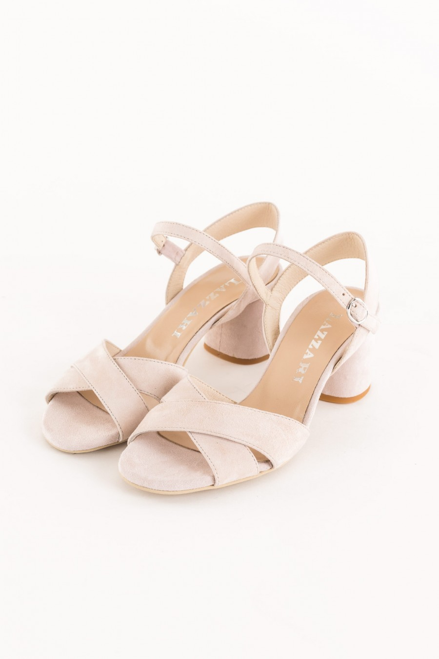 nude sandal with crossed band