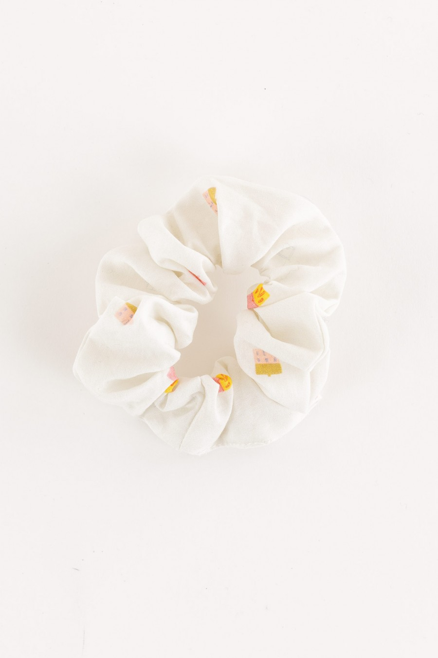 white scrunchie with little houses