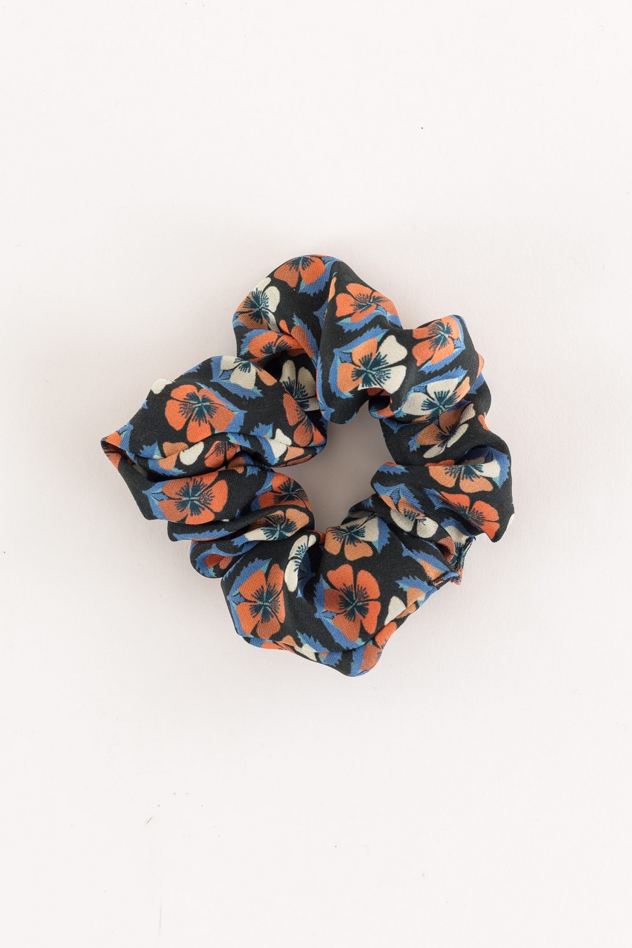 black scrunchie with flowers