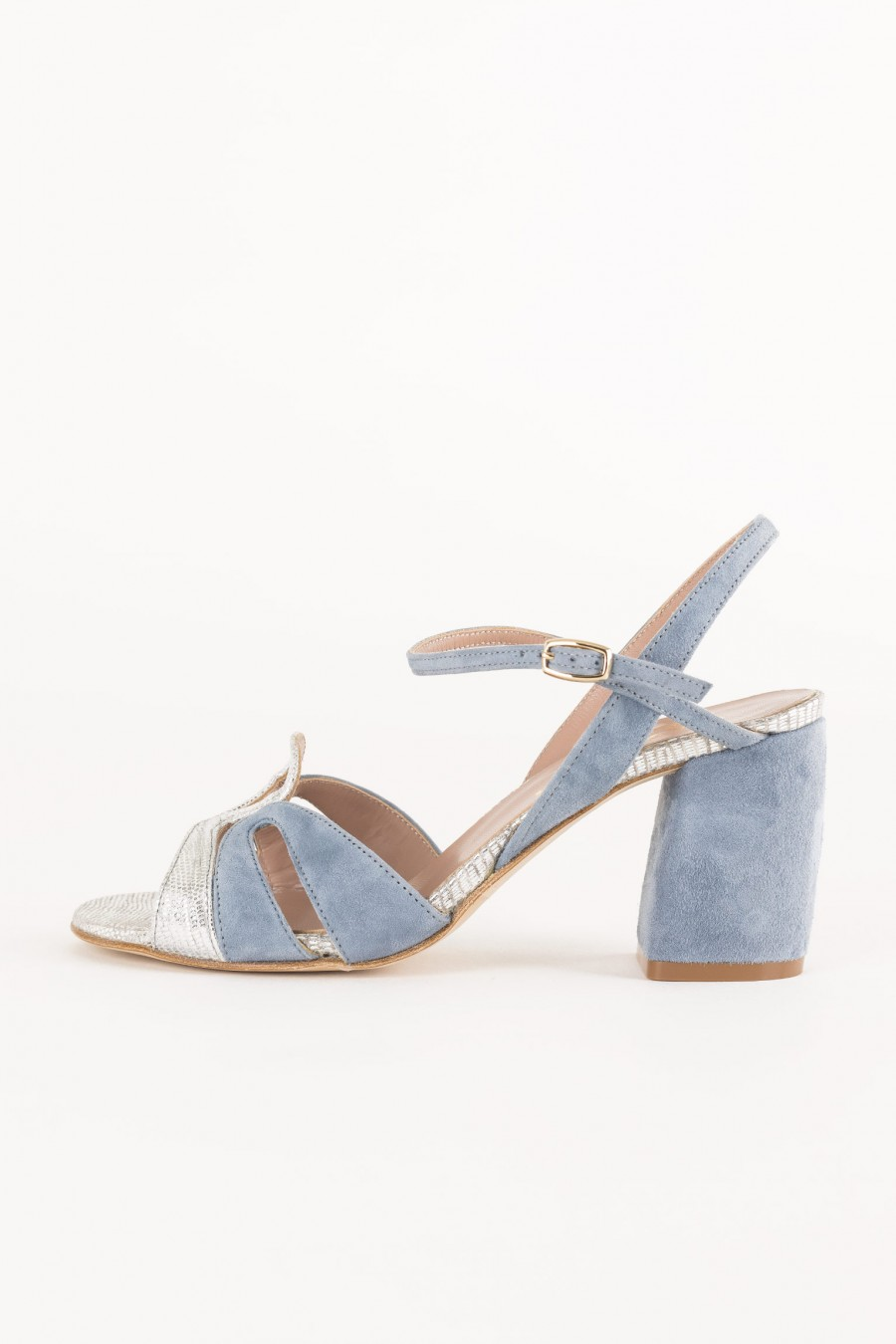 light blue and silver sandal