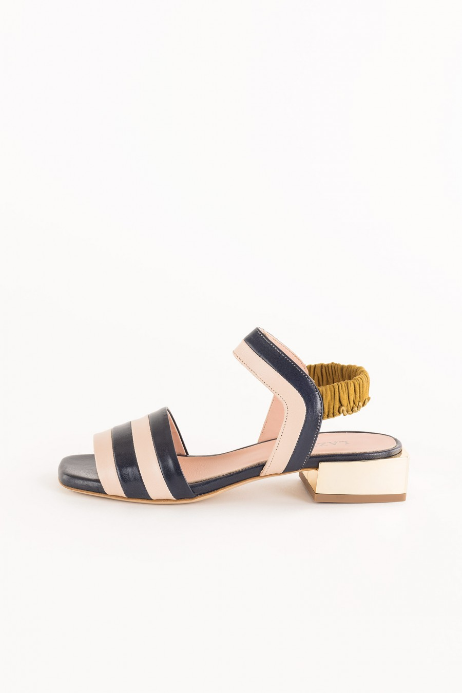 black sandal with low square heel