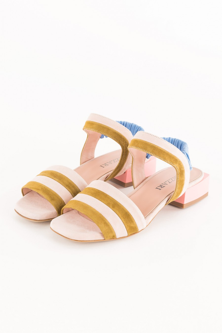 pink sandal with low square heel