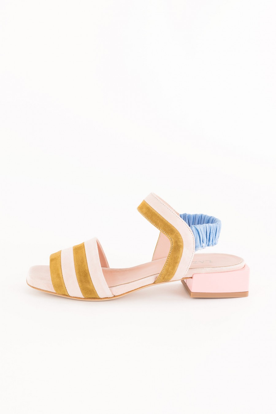 pink sandal with square heel
