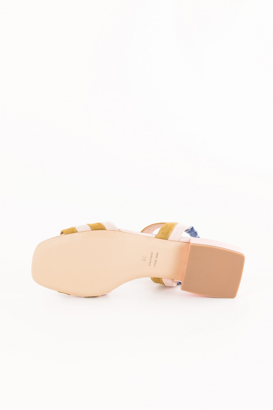 pink sandal with light blue band