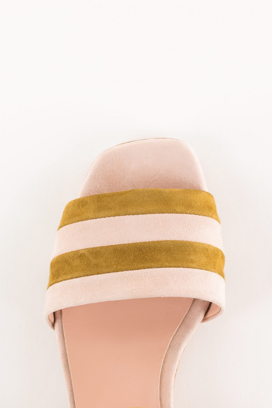 pink and mustard striped sandal