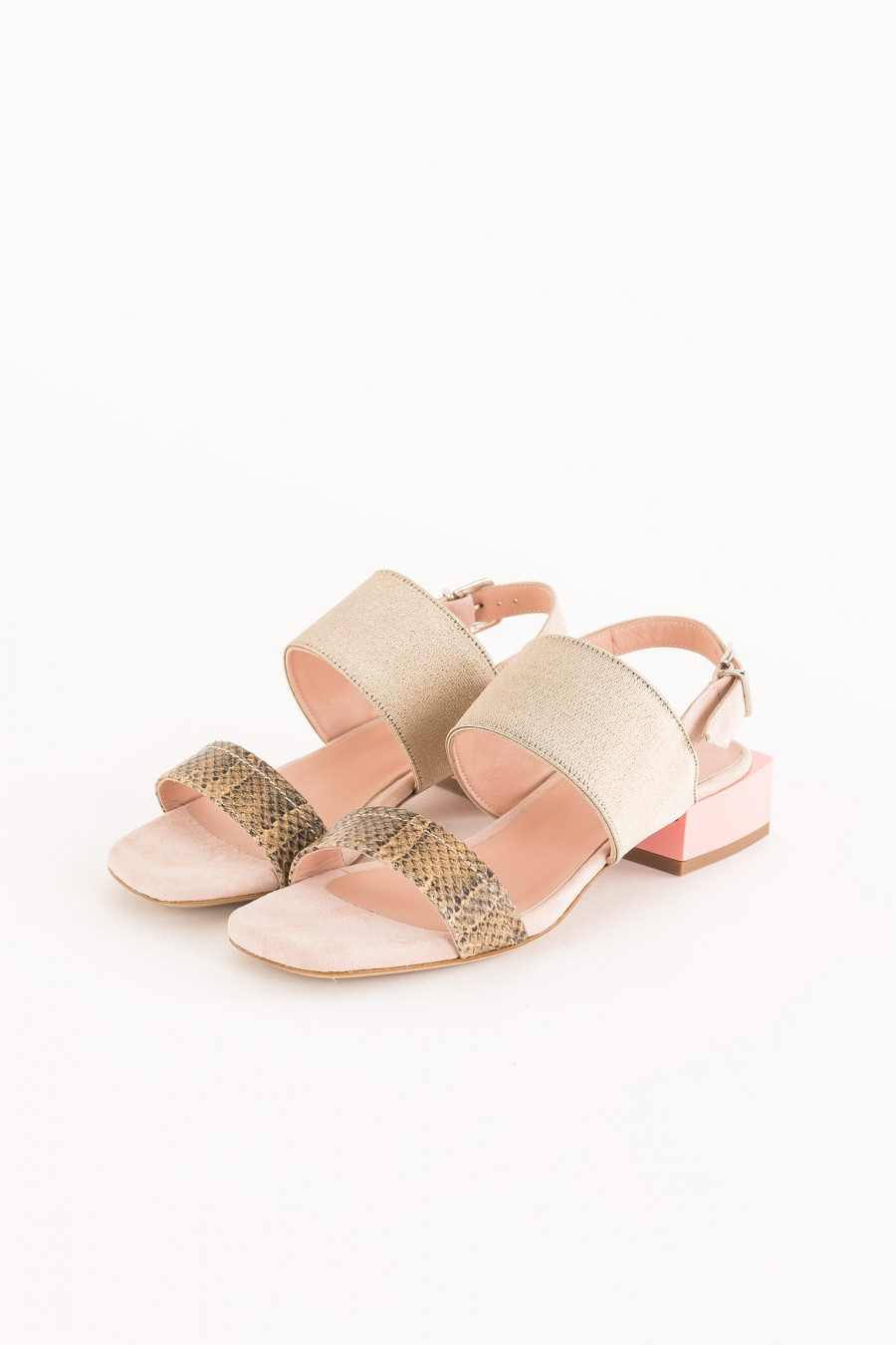 pink sandals with square heel