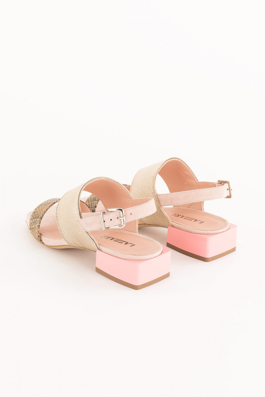 bimaterial sandals with square heel
