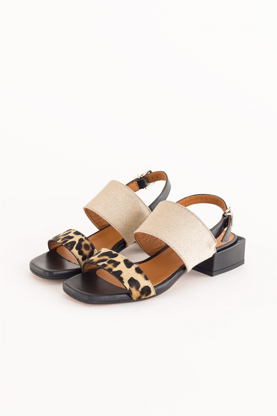 black sandals with square heel