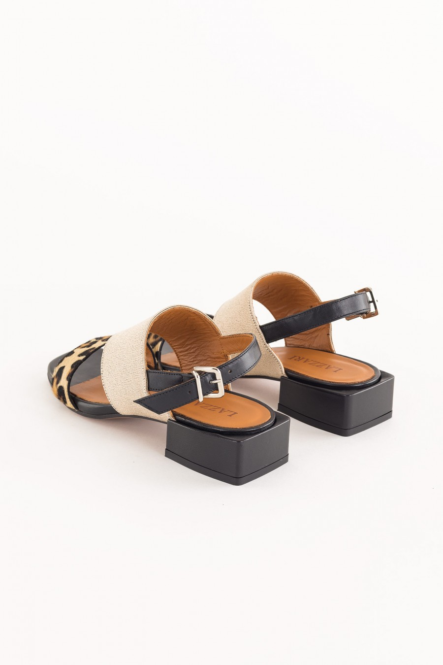 black bimaterial sandals with square heel