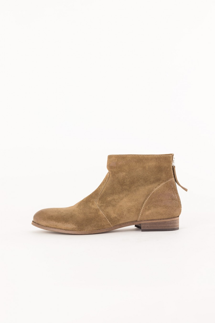 walnut colored suede ankle boot