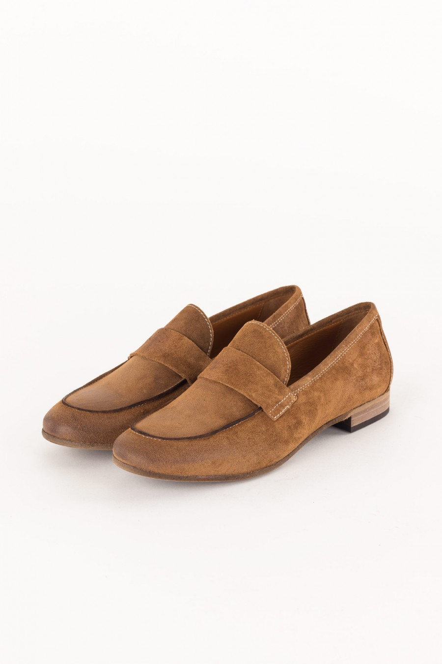 brown suede shoe with band