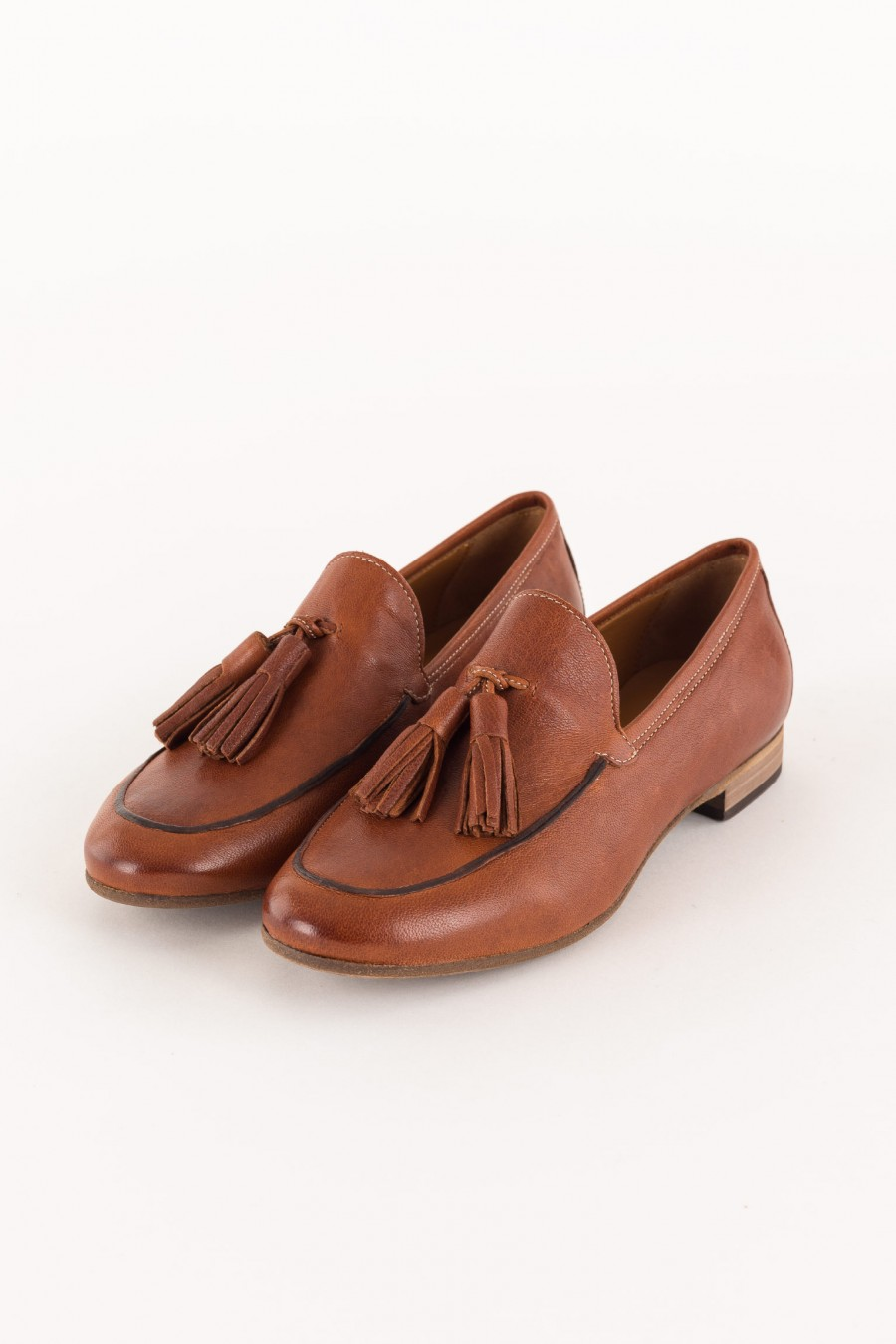 leather brick colored loafer