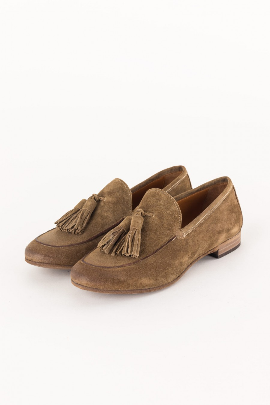 suede brown loafer with tassels