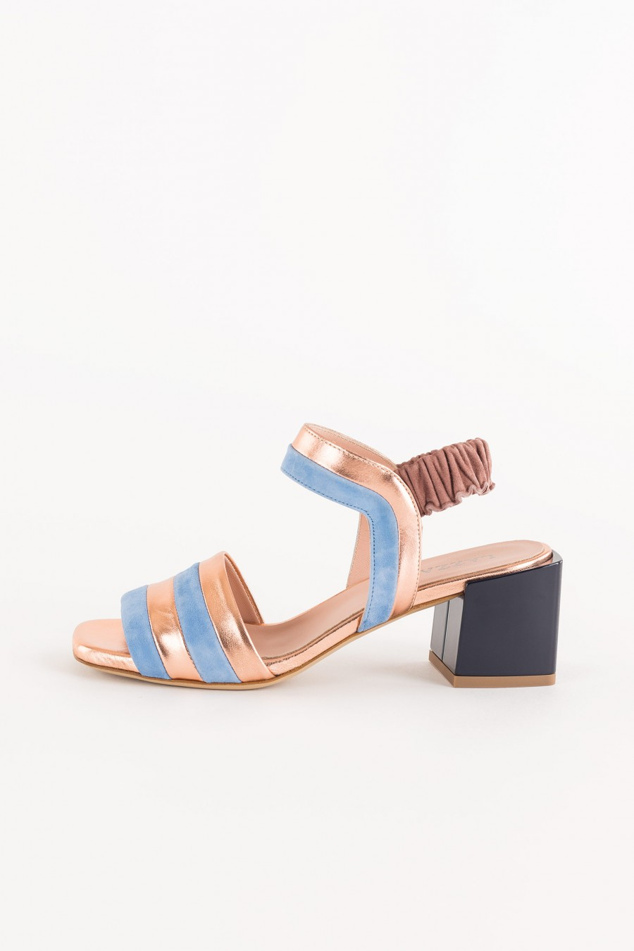 sandal with copper and light blue stripes