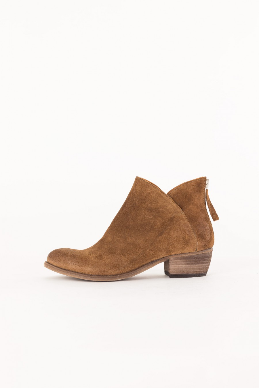 brown suede ankle boots with low heel
