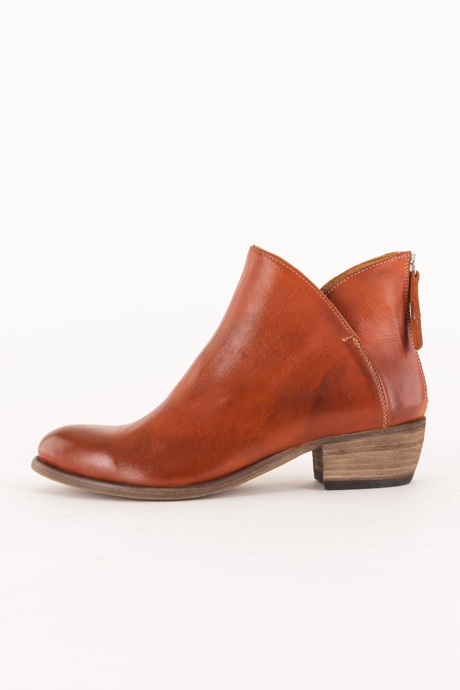ankle boots brick color with low heel
