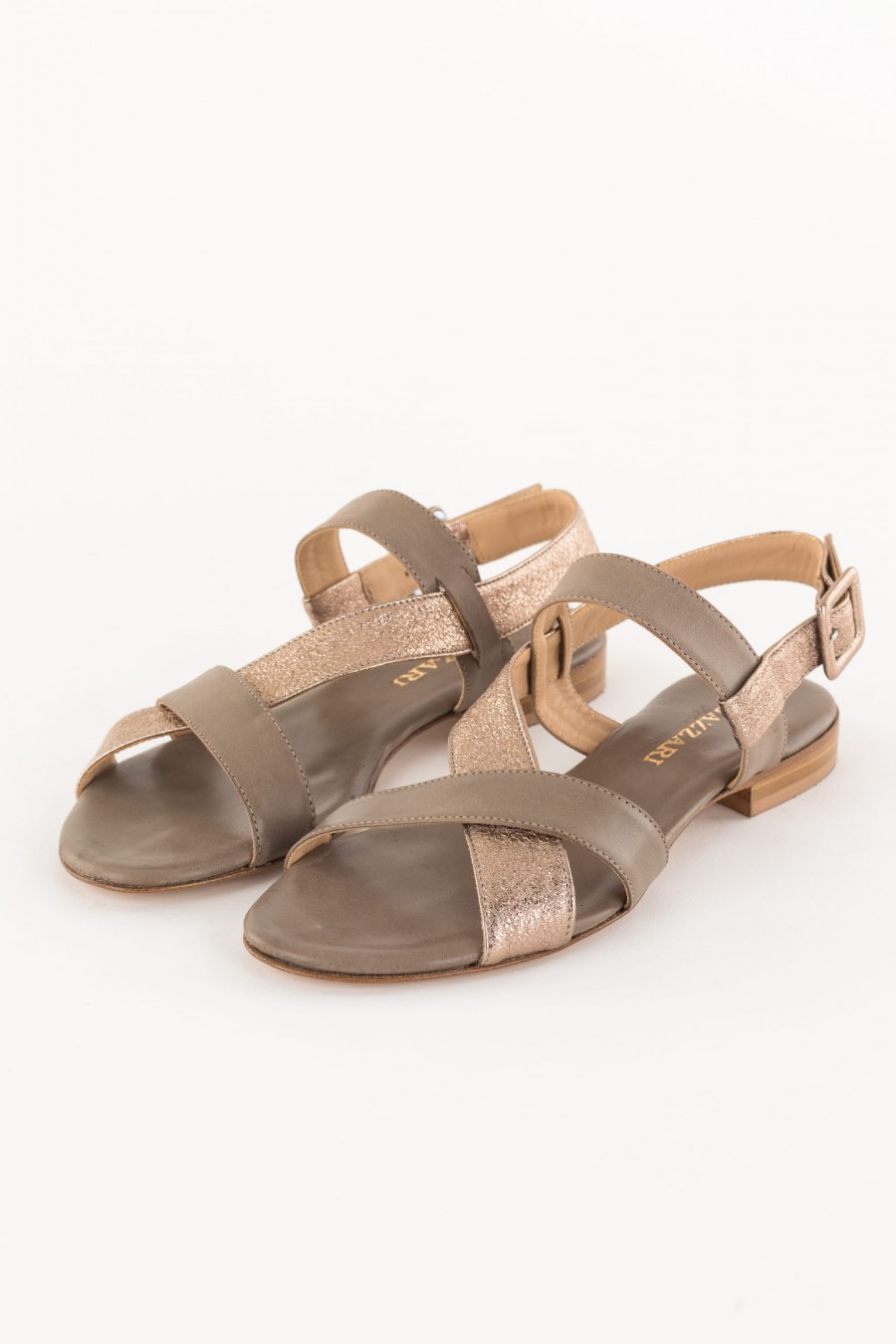 Taupe and copper sandal