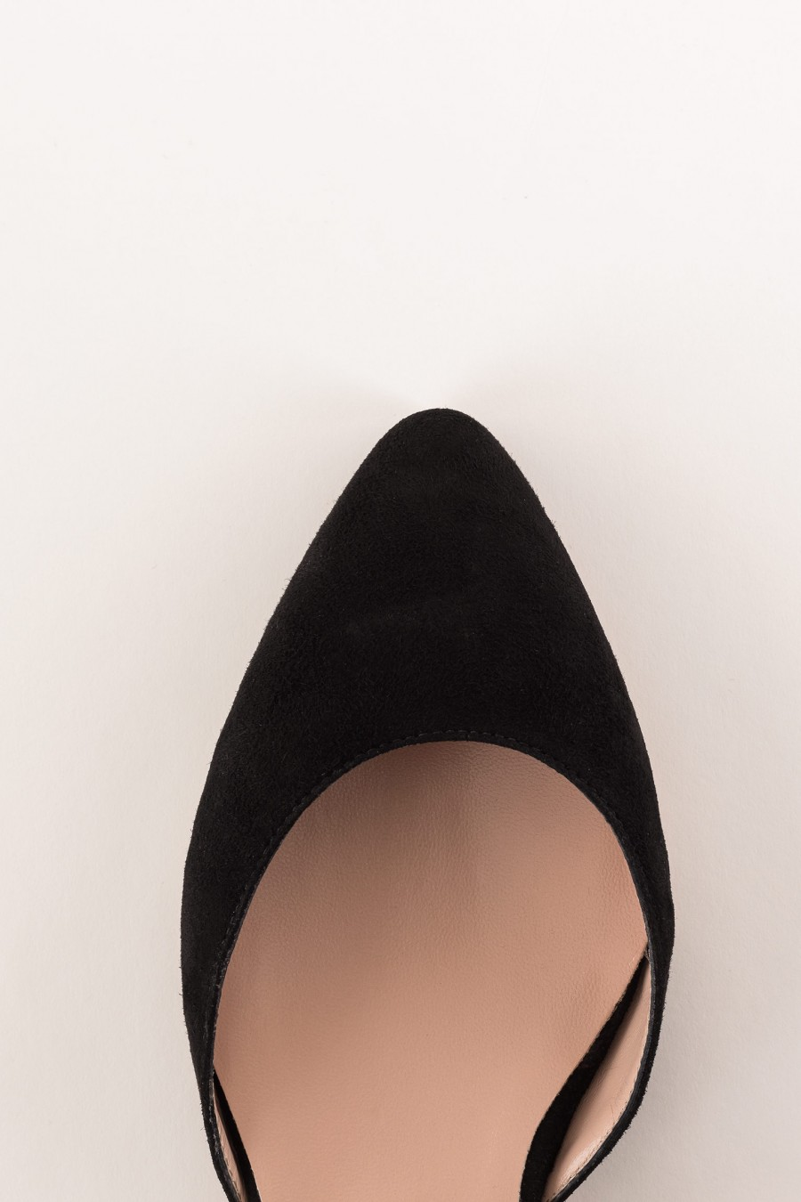 black suede pointed ballerina