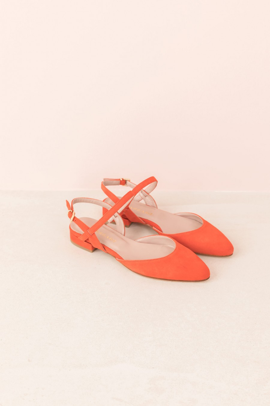 flat coral colored shoe