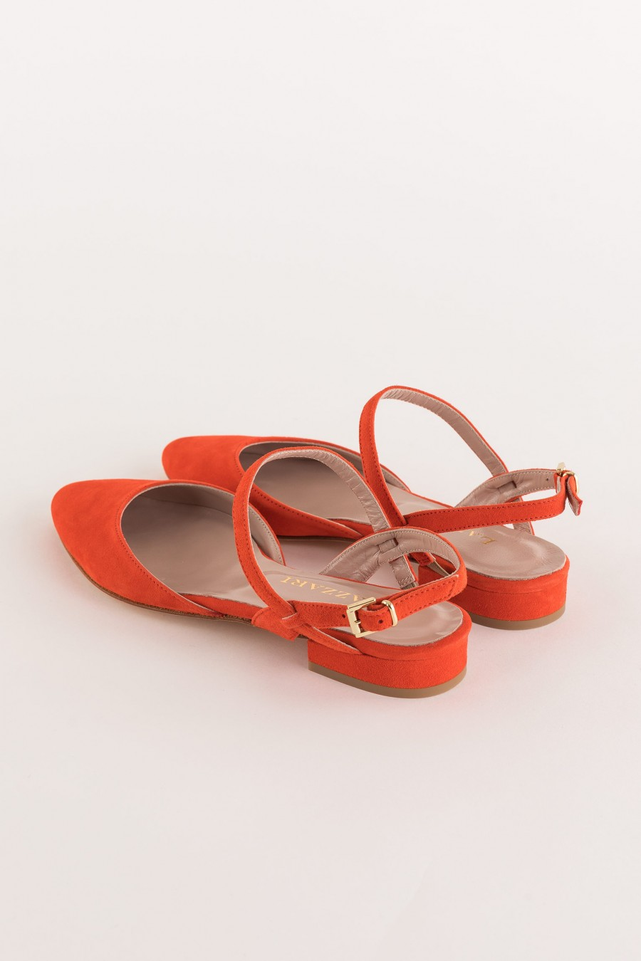 coral-colored leather ballerina