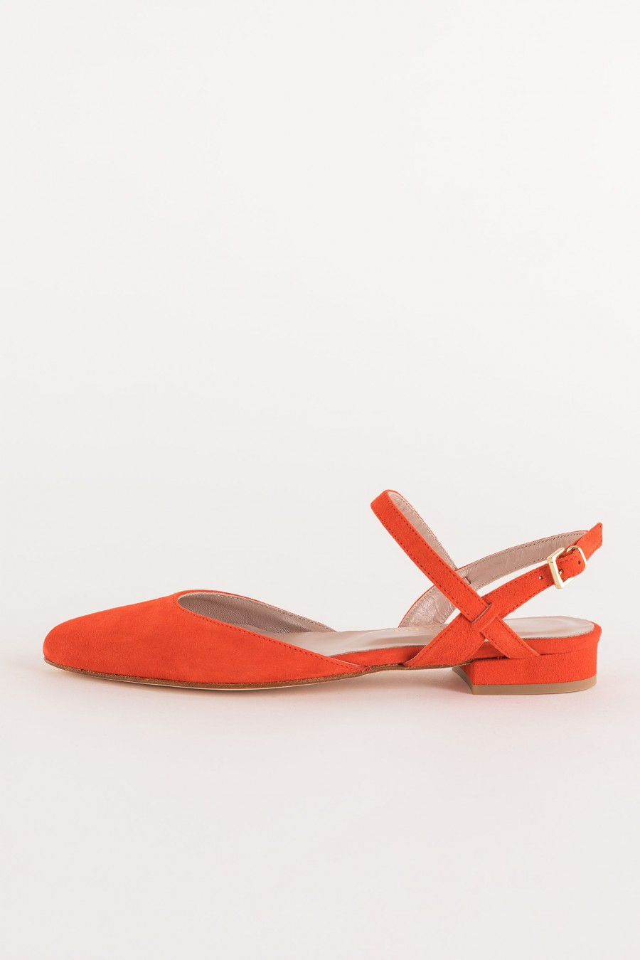 coral-colored suede ballerina