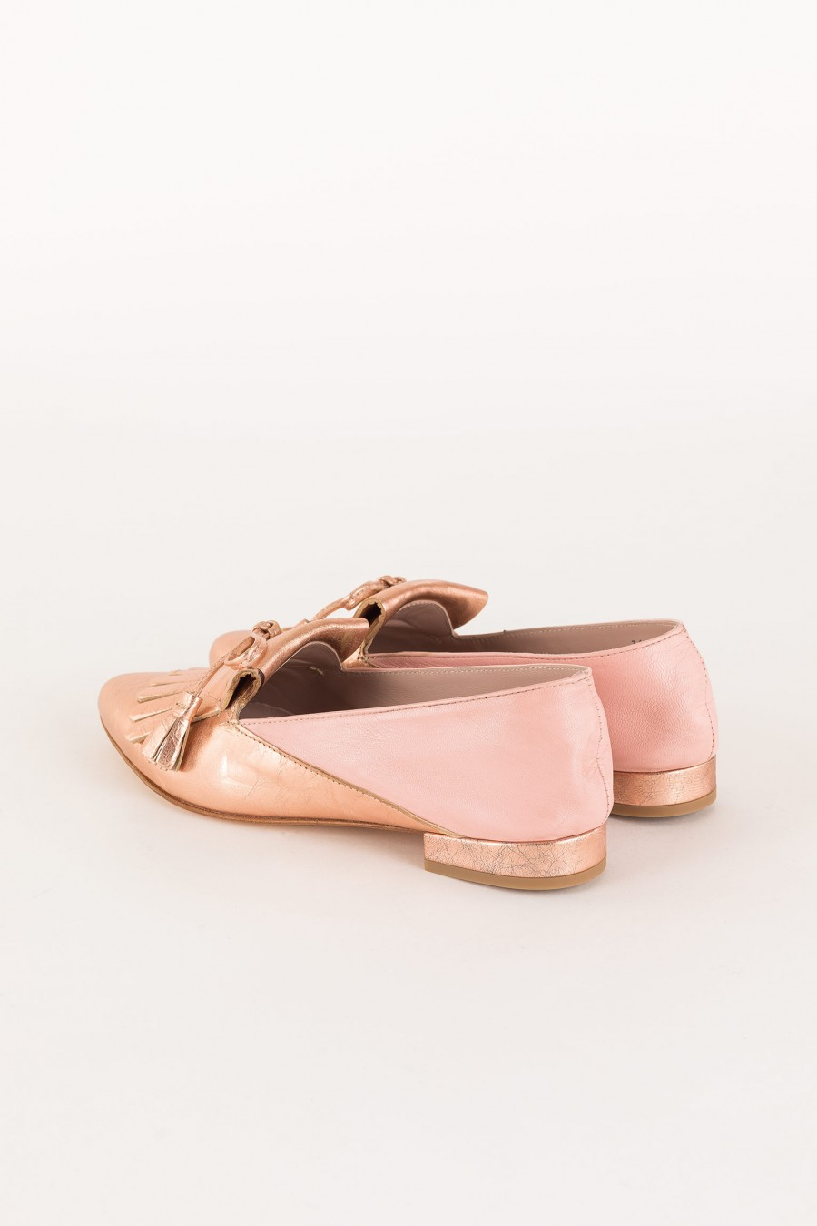 pink and copper loafer