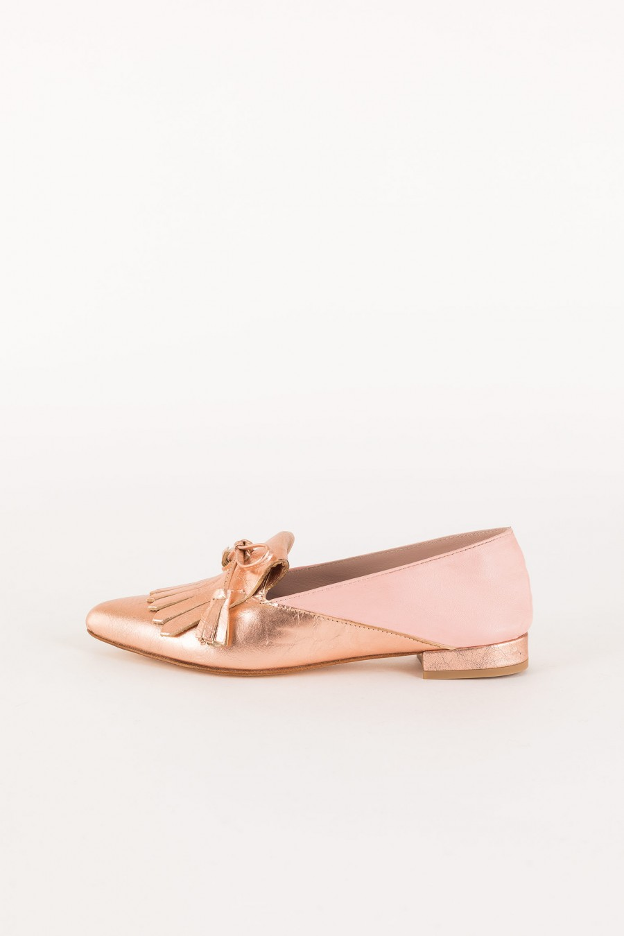 pink loafer with fringes