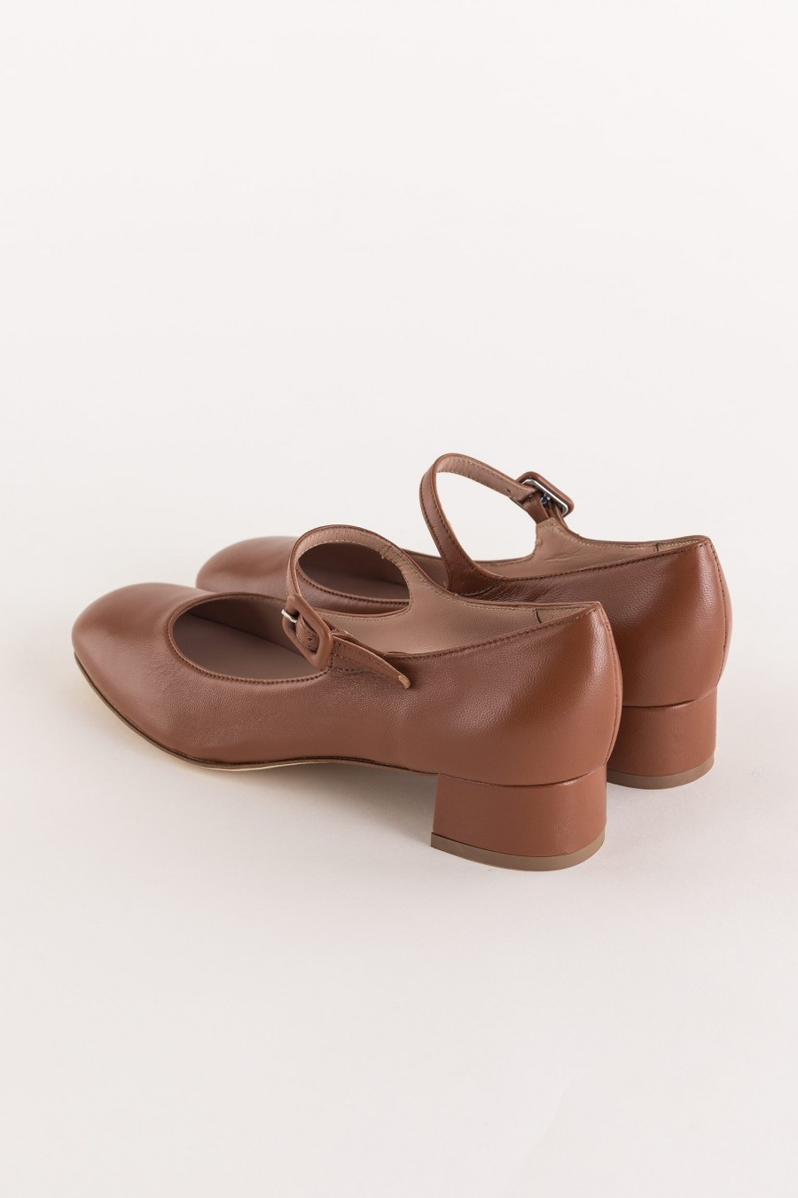 brown mary jane with heel and strap