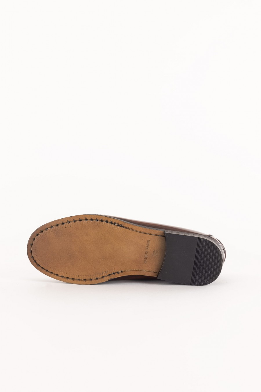 brown polished leather penny loafer